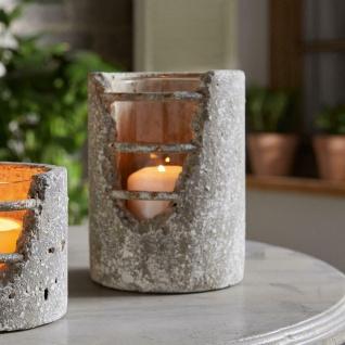 """Windlicht """" Beton"""" mit Glaseinsatz Deko Säule Teelicht Halter Kerzen Ständer"""
