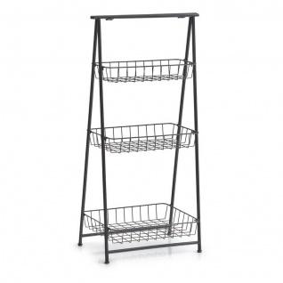 Zeller Stand Regal, 3 Körbe, Metall, schwarz, klappbar, Küchen Bad Büro Schuh