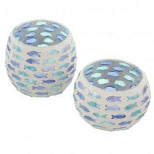 2er Set Windlicht ?Fischschwarm Glas Kerzen Ständer Teelicht Halter Laterne Deko - Vorschau 2