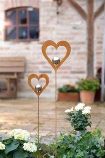 """Herz Stecker """" Silberkugel"""" 2er Set Garten Metall Deko Blumen Sticker Rost Design"""