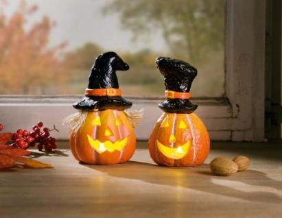 2er LED Kürbis mit Hut Halloween Gruselkürbis Herbst Dekoration Leucht Deko
