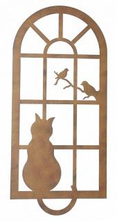"""Wand Deko """" Katze & Fenster"""" aus Metall, Braun, Natur Wand Schmuck Hänger Bild - Vorschau 2"""