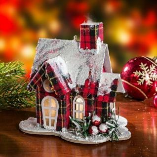 """Haus """" Winter"""" rot kariert mit Beleuchtung, Lichter Leucht Winter Weihnachts Deko"""