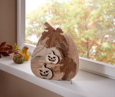 Holz Deko 'Kürbis? Objekt Tisch Halloween Herbst Dekoration Fenster Figur