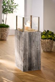 Windlicht Säule 'Pinienholz? Glas Garten Deko Kerzen Teelicht Halter Ständer