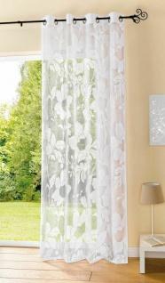 """Dekoschal """" Flora"""" mit Ösen, weiß, 140x245 cm, Deko Schal Gardine Vorhang"""