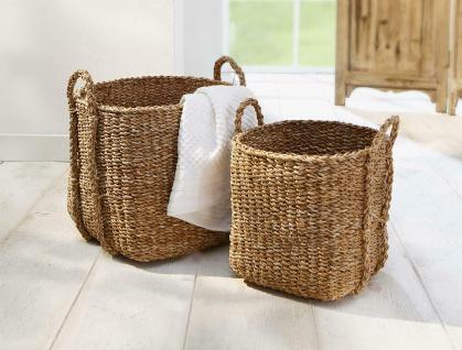 2x Aufbewahrungs Korb aus Seegras mit Griffen, Wäsche Spielzeug Kamin Holz Körbe - Vorschau 1