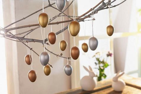 24 Oster Eier zum Hängen, gold silber bronze, 4 cm hoch, Baum Schmuck Deko Ei - Vorschau 1