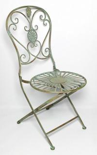 """Metall Stuhl """" Pfauenauge"""" im Antik Design, Garten Balkon Terrasse Klapp Sessel - Vorschau 3"""
