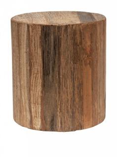 NOVITA HOME Beistell Tisch / Hocker recyceltes Holz, Couch Sofa Sitz Klotz Block