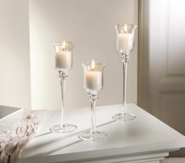 3 er Set Glas Kerzen Ständer Windlicht Kelch Leuchter Teelicht Halter - Vorschau 1
