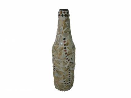 """2x Gilde Deko Flasche """" Muschel"""", Glas Mosaik, Zier Vase Kerzen Ständer Halter"""