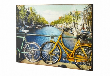 3D Wandbild aus Holz & Metall, Fahrräder auf der Brücke, Wand Deko Bild Poster