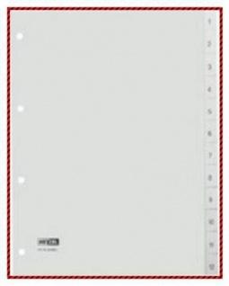20x Hetzel Kunststoff Register A4 12 tlg. grau 1-12 Zahlen Ringbuch Trennblätter
