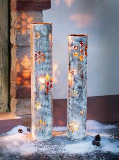 """2x Windlicht Säule """" Schneeflocke"""" Metall silber 90 + 100 cm hoch, Kerzen Ständer"""