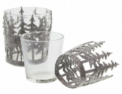 Windlicht Set aus Glas + Filz, Kerzen Teelicht Halter Ständer Winter Weihnachten - Vorschau 4