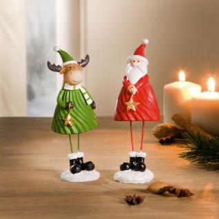 """2 Figuren """" Santa & Rentier"""" auf Stelzen Beinen, Weihnachts Mann Advents Deko"""