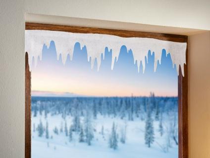 """8x Fenster Deko """" Eiszapfen"""" weiß, 125x19 cm Kunst Schnee, Winter Gardine Vorhang"""