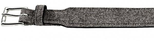HUNTER STOFF / LEDER HALSBAND Textile Salt & Pepper grau / schwarz 30 - 34 cm