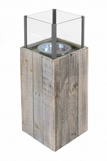 """Windlicht Säule ?Pinienholz"""" Glas Garten Deko Kerzen Teelicht Halter Ständer - Vorschau 2"""