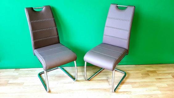 Set Freischwinger Stühle FLORA PU Leder cappucino chom 2x Küchen Esszimmer Stuhl