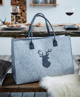 Handtasche aus Filz, grau, stehend, Damen Trage Tasche Frauen Shopper Schulter