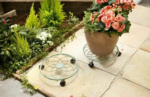 Pflanzen Roller rund, 30cm, Metall, Antik Look, Blumen Roll Untersetzer Rollen