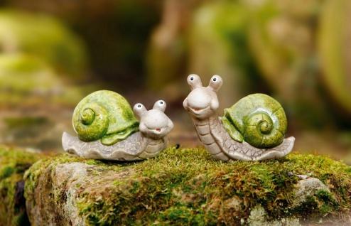 """2er Set Schnecke """" Be Happy"""" aus Terracotta, bemalt, Balkon Garten Deko Figur"""