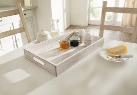 """Servier Tablett """" White"""" aus Holz, Shabby Chic, weiß, Deko Vintage Landhaus Retro"""
