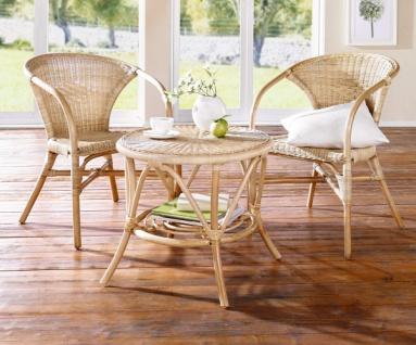 Rattan Sessel natur lackiert, mit Armlehnen, Korb Lounge Sessel Bistro Stuhl
