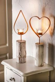 """Teelichtsäule ?Herz"""" Holz & Glas Teelicht Kerzen Halter Ständer Windlicht"""