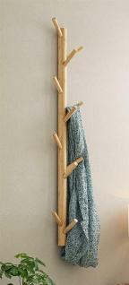 "Flur Wand Garderobe "" Bambus"" mit 11 Haken Vintage Natur Massiv Holz Leiste braun"