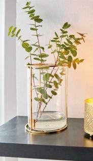 Vase aus Metall & Glas, gold, Windlicht Kerzen Halter Ständer Blumenvase