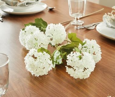 """2x Kunst Blume """" Hortensie"""" 70cm lang, weiß, künstliche Textil Deko Blüten"""