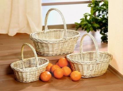"Bügelkorb "" Naturweiß"" aus Weide, Brot Obst Aufbewahrungs Geschenk Flecht Korb #1"