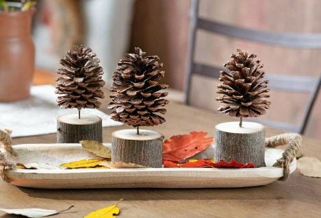 3 Pinien Zapfen in Holzsockel, 18 cm hoch, Herbst Winter Weihnachts Deko Tannen