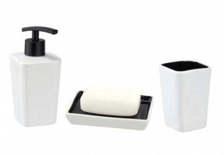 3tlg WENKO Bad Set JAZZ Keramik schwarz weiß Seifenspender Ablage Zahnputzbecher