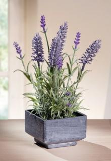 Deko Lavendel Strauch im Topf, 24 cm hoch, künstliche Textil Blume Kunst Pflanze