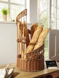 Design Baguette Korb aus Poly Rattan, braun, 56 cm hoch, Brot Ständer Buffet