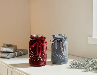 2er Set Glas Flasche Vase im Samt Säckchen, rot & grau, Geschenk Idee Verpackung