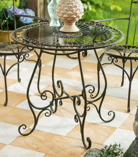 Bistro Tisch aus Metall Antik Optik, Vintage Balkon Garten Terrasse Beistell