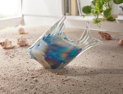 """Deko Fisch """" Ozean"""" aus Glas mit Glitzer, 23 cm lang, maritim Tier Figur Statue"""
