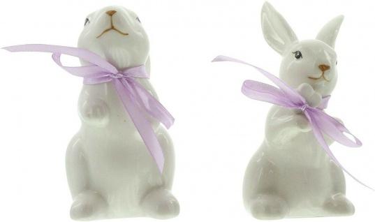 2 Deko Hasen aus Porzellan, weiß lackiert, mit Satin Schleife, Oster Dekoration - Vorschau 2