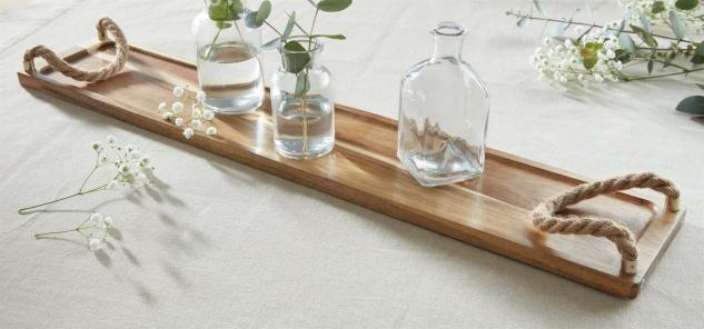 "Holz Tablett "" Akazie"" 60 cm lang schmal braun, Deko Servier Platte edel elegant"