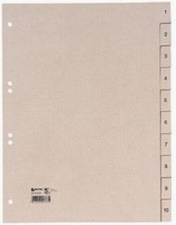 50x Hetzel Tauenpapier Register A4 10tlg. Zahlen 1-10 Papier Ordner Register - Vorschau