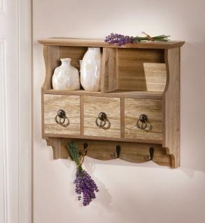 Küchen Wand Schrank in Holz Optik, 3 Schubladen + Haken, Regal Garderobe Ablage