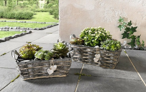 2 Blumen Kästen aus Zink, Rinde & Weide, Pflanz Kübel Kräuter Topf Schale