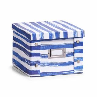 """2x Zeller Aufbewahrung Box mit Deckel """" Blue Stripes"""" für 26 DVD Kiste Karton"""