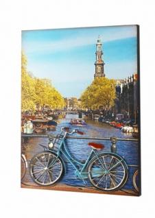 3D Wandbild aus Holz & Metall, Fahrrad auf Brücke, Wand Deko Bild Poster