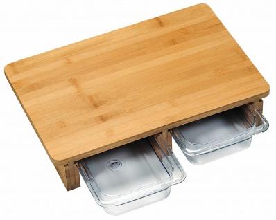 Kesper Schneide Brett aus FSC Bambus Holz mit 2 Auffang Schalen Behälter Schneid
